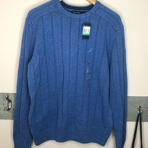 NWT NAUTICA BLUE COTTON KNIT PULLOVER SWEATER LG
